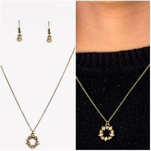 ALWAYS KISS ME GOODNIGHT BRASS NECKLACE/EARRING SE